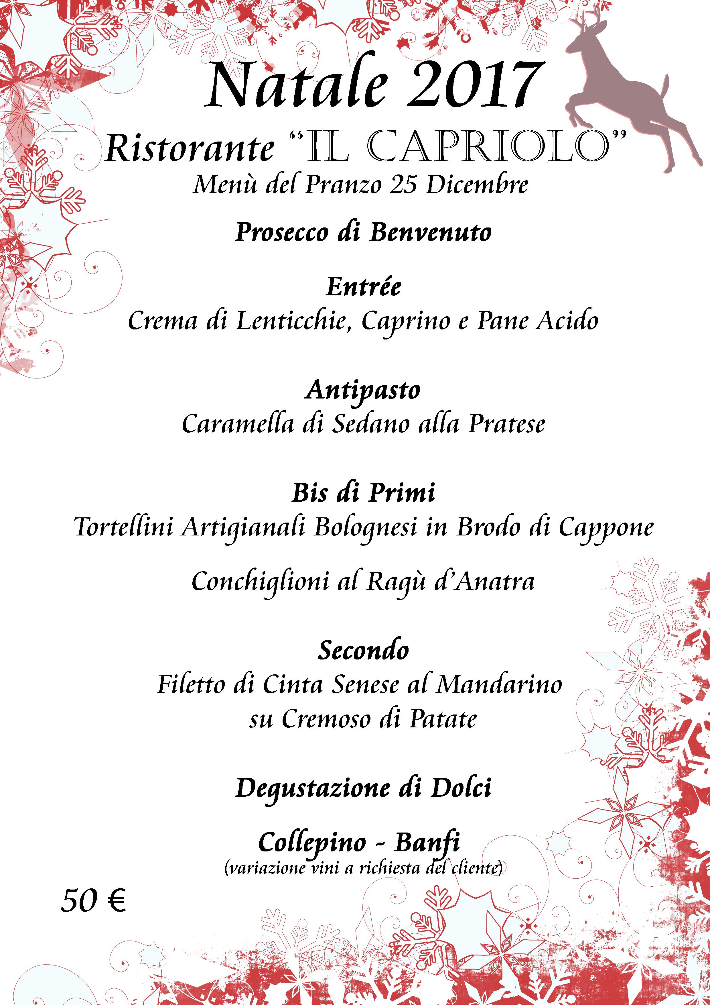 Un Menu Per Il Pranzo Di Natale.News Il Capriolo Prato