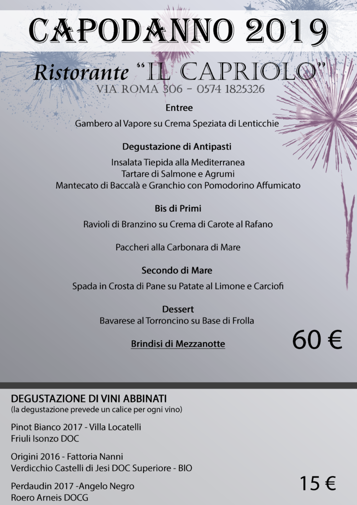 Menù cenone di San Silvestro - Capodanno 2018 2019