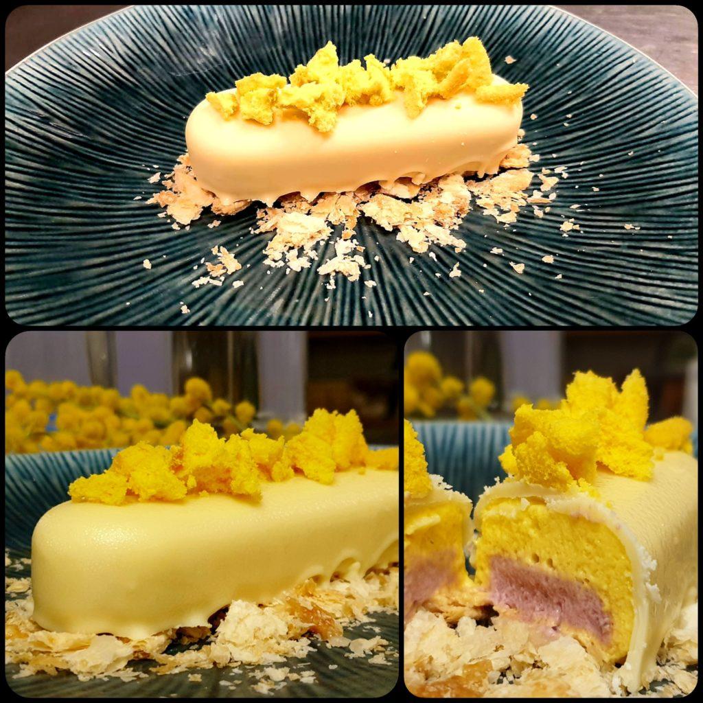 cioccolato bianco croccante ripieno di cremoso al frutto della passione e lampone